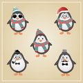 Winter hipster penguins illustration cute christmas vector Stock Photo