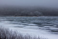 Winter hoar frost over the frozen river st croix near hudson wisconsin Stock Image