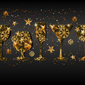 Winter holiday black background with gold drinking glasses.