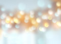 Winter holiday christmas blue golden blurred bokeh background.
