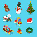 Winter holiday Christmas object snowman flat isometric vector Royalty Free Stock Photo