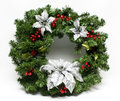 Winter Holiday Christmas Wreath Stock Photos
