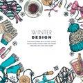 Winter holiday frame. Vector color sketch illustration. Banner or poster design template
