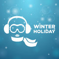 Winter holiday and icon women on blue background Stock Photos