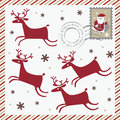 Winter holiday post card with four deer Royalty Free Stock Photos