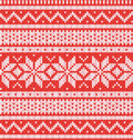 Winter holiday seamless knitted pattern. Red and white vector illustartion