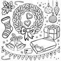 Winter holidays christmas illustration elements s black and white typical traditional and related set isolated on white background Royalty Free Stock Photos