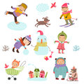 Winter holidays. Cute Illustration of kids playing outdoors in winter.