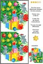 Winter holidays find the differences picture puzzle with mice, gifts, christmas tree