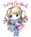 Winter holidays illustration. Watercolor cute girl with big eyes in warm clothes. New Year card. Merry Christmas.