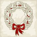Winter holidays monochrome holly leaves wreath sea beautiful on light background christmas new year decorative illustration card Royalty Free Stock Photography