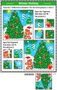 Winter holidays picture puzzles with christmas tree Royalty Free Stock Photo