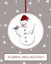 Winter holidays postcard with snowman Royalty Free Stock Photo