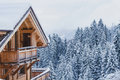 Winter holidays, ski vacations background, house
