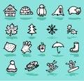 winter,holidays,snow icons set