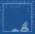 Winter holidays template frame with a cup of hot chocolate and snow. Knit pattern. Vector. Hand drawn. blue