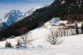 Winter hotel in alps Royalty Free Stock Image