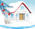 Winter house. Composition for Christmas card Stock Photo