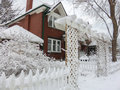 Winter house covered by snow after blizzard toronto canada Stock Photos