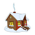 Winter house. Hand-drawn vector Illustration on white Royalty Free Stock Photo