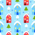 Winter house seamless pattern, snowman