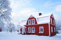 Winter house in Sweden Royalty Free Stock Photo