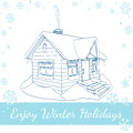 Winter House. Vector Illustration On White Royalty Free Stock Photo