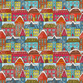Winter houses seamless pattern vector illustration Stock Photos