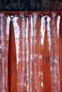 Winter icicles on a wooden garden gate Stock Photos
