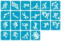 Winter icon set pictograms of sports isolated in white background Stock Photos
