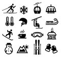 Winter icons collection of representing skiing and other outdoor activities Royalty Free Stock Photos