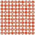 100 winter icons hexagon orange