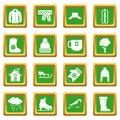 Winter icons set green