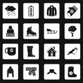 Winter icons set squares vector