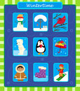 Winter icons vector set of nine cute eps Royalty Free Stock Photography