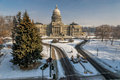 Winter at the Idaho state capital with trees Royalty Free Stock Photography