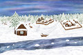 Winter illustration digital art villages in the forest deer river house and old boat Stock Images