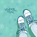 Winter illustration with girls feet in boots tights and on a snowflake patterned background Royalty Free Stock Photos
