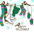 Winter illustration with hanging skates and clothe or card drying clothes on a rope Royalty Free Stock Photo