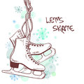 Winter illustration with skates or card Royalty Free Stock Image