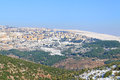 Winter in israel safed city covered with snow the north of Royalty Free Stock Image