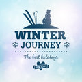 Winter journey holidays poster card Royalty Free Stock Images