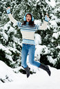 Winter jumping Royalty Free Stock Images