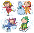 Winter kids contains transparent objects eps format Royalty Free Stock Image