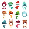 Winter kids hat. Warm childrens hats and scarves. Headwear and accessories for boys and girls cartoon vector set