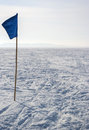 Winter kite skiing on the frozen river Stock Photos