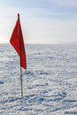 Winter kite skiing on the frozen river Stock Photo