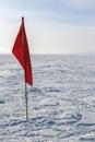 Winter kite skiing on the frozen river Stock Photo