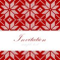 Winter knitted christmas card nordic pattern background illustration red white Stock Image