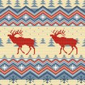 Christmas winter knitted woolen seamless pattern with red deer in in blue firs forest